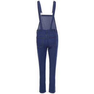 Casual Style Solid Color Straight Leg Women's Denim Overalls - BLUE S