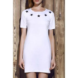 Round Neck Letter Pattern Hollow Out Short Sleeve Dress For Women - White - L