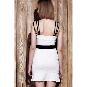 Sexy Spaghetti Strap Sleeveless Spliced Hit Color Women's Dress -