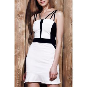 Sexy Spaghetti Strap Sleeveless Spliced Hit Color Women's Dress - White - Xl