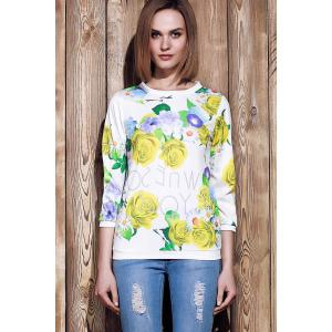 Sweet Various Colorful Floral Printed 3/4 Sleeve Sweatshirt For Women - YELLOW S