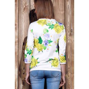 Sweet Various Colorful Floral Printed 3/4 Sleeve Sweatshirt For Women - YELLOW M