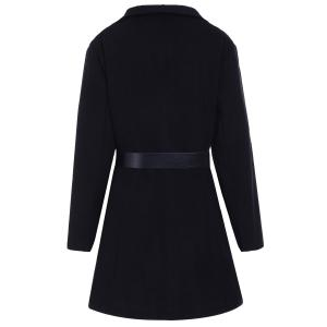 Stylish Turn-Down Collar Long Sleeve Belted Solid Color Women's Coat -