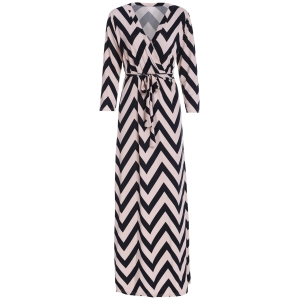 Plunging Neck 3/4 Sleeve Chevron Wrap Maxi Dress - Black - Xl