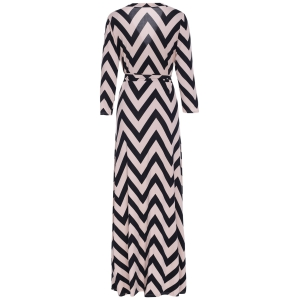 Plunging Neck 3/4 Sleeve Chevron Wrap Maxi Dress - BLACK S