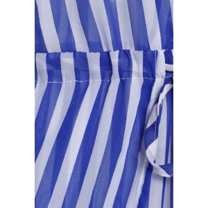 Sleeveless Drawstring Vertical Striped Maxi Dress - BLUE S