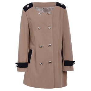 Chic Turn-Down Collar Long Sleeve Double-Breasted Woolen Coat For Women - Camel - M