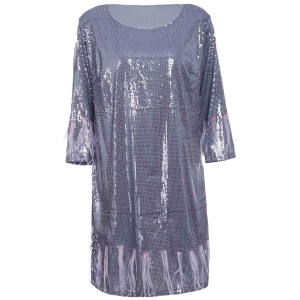 Glitter Fringed Sequin T Shirt Dress