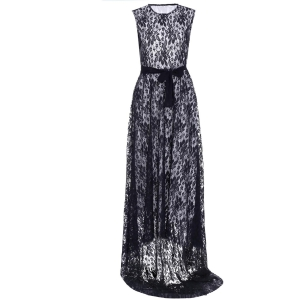 Sleeveless Long Lace Evening Prom Dress - Black - Xl