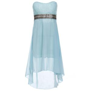 Strapless High Low Cocktail Night Out Chiffon Dress - BLUE L