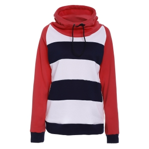 Casual Hooded Long Sleeve Drawstring Striped Hoodie For Women - Red - Xl