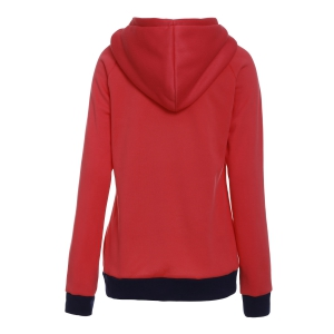 Casual Hooded Long Sleeve Drawstring Striped Hoodie For Women - RED M