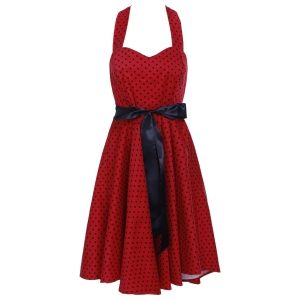 Vintage Halter Neck Polka Dot Backless A Line Dress