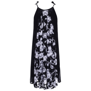 Ethnic Style Spaghetti Strap Floral Print Summer Dress For Women -