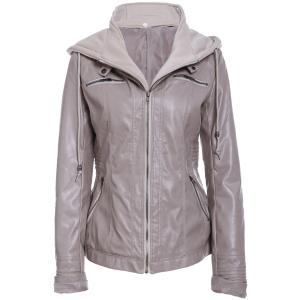 Detachable Hooded Faux Leather Jacket - Light Khaki - M