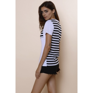 Casual Scoop Neck Striped Short Sleeve Loose-Fitting T-Shirt For Women - WHITE S
