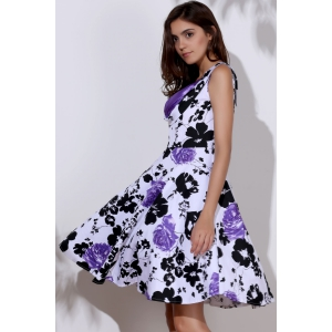 Vintage Sweetheart Neck Floral Print Sleeveless Ball Gown Dress For Women -
