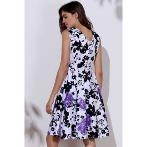 Vintage Sweetheart Neck Floral Print Sleeveless Ball Gown Dress For Women - PURPLE S