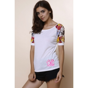 Stylish Scoop Collar Short Sleeve Spliced Printed Women's T-Shirt -