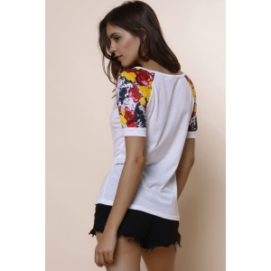 Stylish Scoop Collar Short Sleeve Spliced Printed Women's T-Shirt - WHITE S
