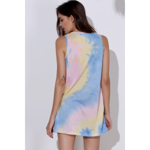 Sexy Round Neck Sleeveless Tie Dye Women's Dress - COLORMIX S