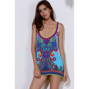 Ethnic Style Scoop Neck Printed Asymmetrical Women's Tank Top -