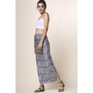 Cami Top and High Waisted Printed Skirt - BLACK M