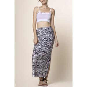 Cami Top and High Waisted Printed Skirt - Black - L