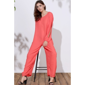 V Neck Long Sleeve Plus Size Jumpsuit - ORANGE XL