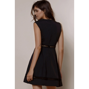 Plunging Neck Sleeveless Hollow Out Low-Cut Skater Dress -