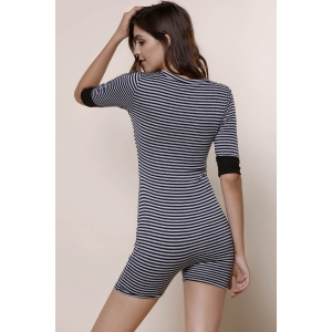 Women's Stylish V-Neck Short Sleeve Striped Romper - STRIPE S