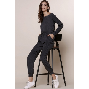 Casual Skew Collar Gray Self-Tie Long Sleeve Jumpsuit For Women -