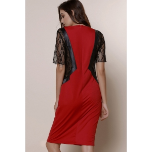 Stylish Round Neck Short Sleeve Lace Spliced Plus Size Women's Dress - RED XL