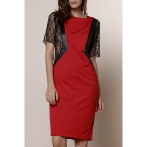 Stylish Round Neck Short Sleeve Lace Spliced Plus Size Women's Dress - Red - Xl