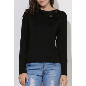 Casual Buttoned Cowl Neck Solid Color Long Sleeve T-Shirt For Women - Black - L