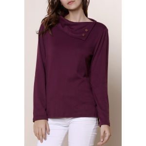 Casual Buttoned Cowl Neck Solid Color Long Sleeve T-Shirt For Women