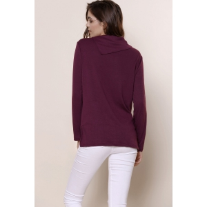 Casual Buttoned Cowl Neck Solid Color Long Sleeve T-Shirt For Women - PURPLE L