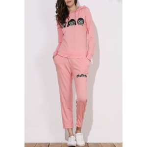 Cute Hooded Emoji Printed Pullover Hoodie and Elastic Waist Pants Twinset For Women - Pink - S