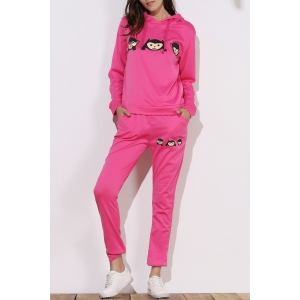 Cute Hooded Emoji Printed Pullover Hoodie and Elastic Waist Pants Twinset For Women - Rose - M