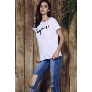 Brief Round Collar Short Sleeves Letter Print Women's T-Shirt - WHITE S