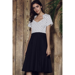 Sweetheart Neck Polka Dot Tea Length Dress -