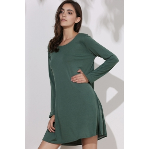 Simple Round Collar Long Sleeve  Dress - GREEN ONE SIZE(FIT SIZE XS TO M)