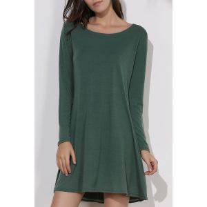 Simple Round Collar Long Sleeve  Dress - Green - One Size(fit Size Xs To M)