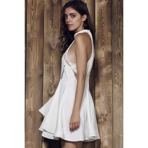 Elegant Stand Collar Flounced Sleeveless Dress For Women - WHITE L