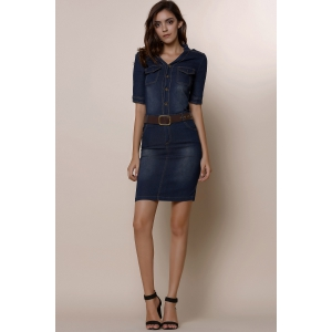 Chic Women's 1/2 Sleeve Belted Bleach Wash Single Breasted Denim Dress -