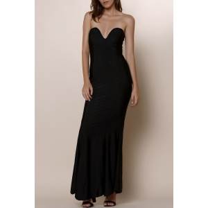 Strapless Bodycon Bandeau Maxi Mermaid Dress