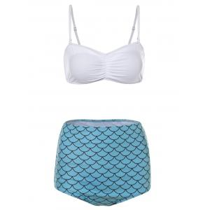 Fish Scales Print High Waisted Bandeau Bikini Set - White - Xl