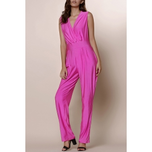 Sexy Solid Color Plunging Neck Sleeveless Plus Size Jumpsuit For Women - PURPLISH RED 2XL