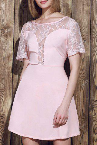 Trendy Stylish Scoop Neck Lace Spliced Plus Size Short Sleeve Dress For Women PINK 2XL