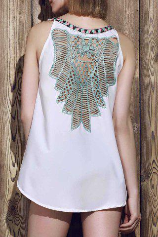 Buy Sexy V-Neck Sleeveless Hollow Out Spliced Women's Tank Top WHITE M